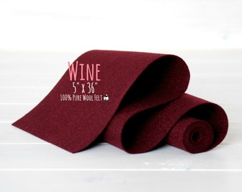 "100% Merino Wool Felt Roll  - 5"" x 36"" Wool Felt Roll- Wool Felt Color Wine-4200 - European Wool Felt - Wine color wool felt - Merino Felt"