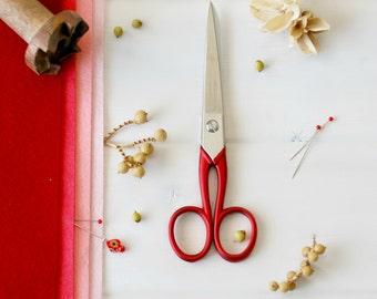 """Medium Scarlet Scissors - Medium Red Shears - Medium Fabric Scissors - Medium Sharp Scissor - Shears - 6-1/4"""" Scissors - Tailor Red Scissors"""