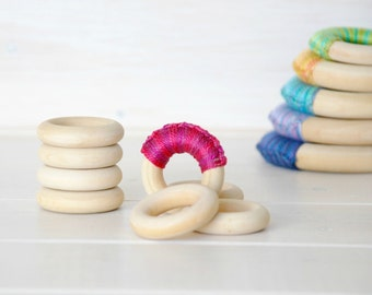 "10 or 20 Wood Rings - Extra Small Wooden Rings - 1-1/2"" (40MM) - Natural Wooden Rings - DIY Teethers - Rings - DIY Wood Crafts - Wood Rings"