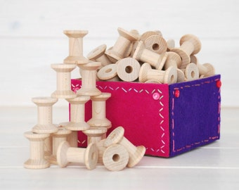 """Wood Spools - 50 Small Wooden Spools - Unfinished -1-1/8th"""" x 7/8th""""  - Small Wood Spools - Wood Spools for Twine"""