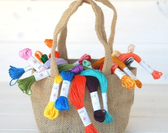 Embroidery Thread Bundle - 70 Colors - All Ccolors included in a Burlap Bag - Floss by Sublime - Christmas Gift - Sublime Stitching Floss