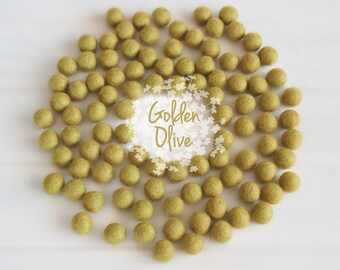 Wool Felt Balls - Size, Approx. 2CM - (18 - 20mm) - 25 Felt Balls Pack - Color Golden Olive-1030 - Felt Balls - Golden Color Felt Balls