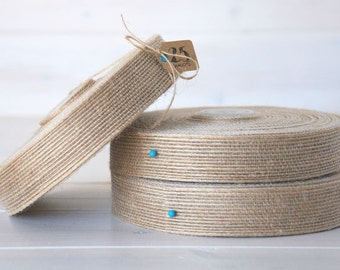 "Natural Burlap Ribbon - 25 Yards of Natural Jute Ribbon -  1"" wide - Jute Ribbon - Natural Burlap Ribbon - DIY Wedding Ribbons"