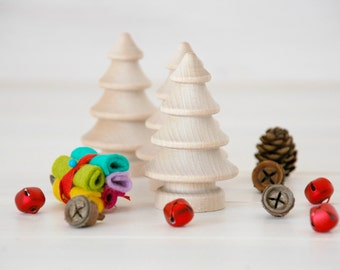 10 Wooden Christmas Trees - Unfinished Wooden Tree - Set of 10 wooden tress in a Muslin bag - DIY Crafts