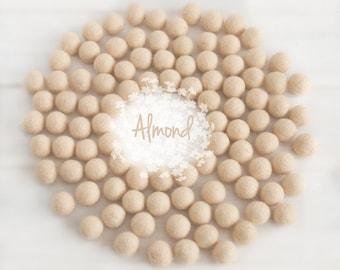 Wool Felt Balls - Size, Approx. 2CM - (18 - 20mm) - 25 Felt Balls Pack - Color Almond-7005 - Almond color fetl balls - 2CM Skin Felt Balls