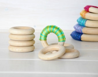 "10 or 20 Wood Rings - Small Wooden Rings - 1-3/4"" Wood Rings (45MM) - Natural Wood - DIY Teethers - Toss Rings - DIY Wood Crafts - Wood Ring"