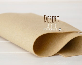 "100% Wool Felt 18"" Square, 100 Percent Wool Felt Large Sheet - 18"" X 18"" - Color Desert-7030 - Pure Merino Wool Felt - Camel Color Felt"