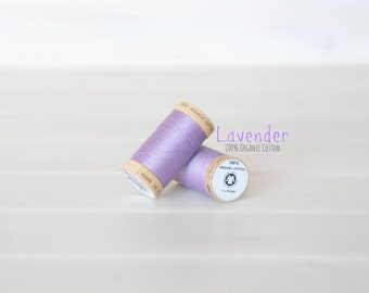 Organic Cotton Thread GOTS - 300 Yards Wooden Spool  - Thread Color Lavender - No. 4812 - Eco Friendly Thread - 100% Organic Cotton Thread