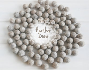 Wool Felt Balls - Size, Approx. 2CM - (18 - 20mm) - 25 Felt Balls Pack - Color Heather Dune-9005 - 2CM Marble Color Felt Balls - Felt Balls