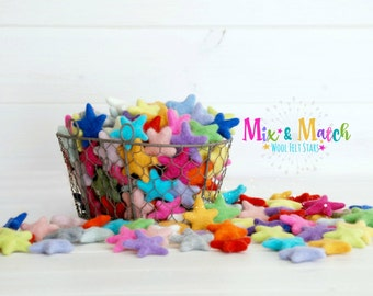 Mix & Match Felt Stars - Wool Felt Stars - (3-4cm/30-40mm ) You Choose Colors