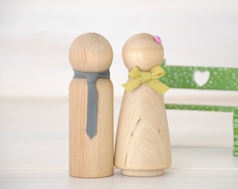 Wooden Peg Dolls - Unfinished Wooden People - Husband & Wife wooden dolls in a Muslin bag - Set of 2, 4, 6 or 8  - DIY Wood Crafts