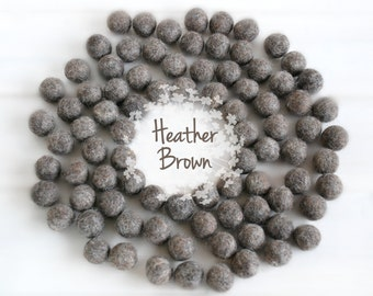 Wool Felt Balls - Size, Approx. 2CM - (18 - 20mm) - 25 Felt Balls Pack - Color Heather Brown-9010 - Felt Poms - 2CM Brown Color Felt Balls