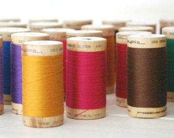 5 Spools - Mix and Match - Organic Cotton Thread - GOTS - 300 Yards Wooden Spool  - Choose 5 Colors