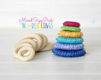 Wooden Rings - Mixed Sizes Pack - 6 or 12 - Wood Rings - DIY Teething Rings - 6 or 12 Toss Rings - Wooden Teething Rings - Rings Mixed Sizes