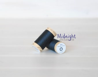 Organic Cotton Thread GOTS - 300 Yards Wooden Spool  - Thread Color Midnight Blue- No. 4818- Eco Friendly Thread - 100% Organic Cotton