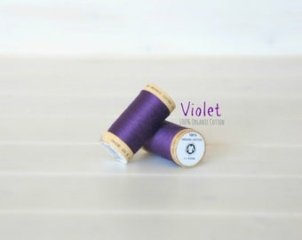 Organic Cotton Thread GOTS - 300 Yards Wooden Spool  - Thread Color Violet - No. 4813 Eco Friendly Thread - 100% Organic Cotton Thread