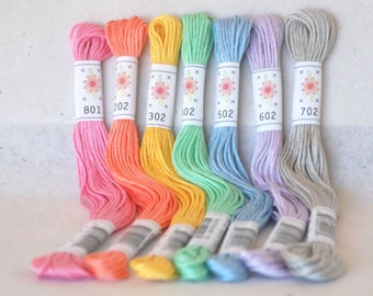 "Embroidery Floss ""Frosting Pallete"" - 7 Skeins Pack - Embroidery Thread by Sublime Floss - Sublime Stitching - Cotton Floss - Embroidery"