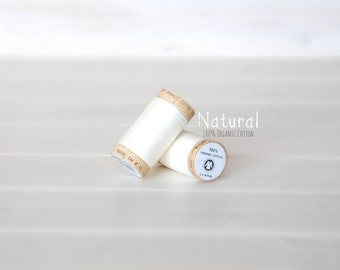 Organic Cotton Thread GOTS- 300 Yards Wooden Spool  - Thread Color Natural White - No.4801- Eco Friendly Thread - 100% Organic Cotton Thread