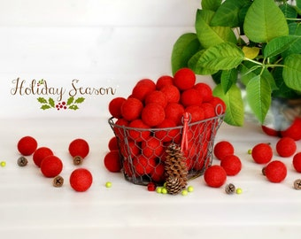 25 Felt Balls - 3CM Wool Felt Balls - 100% Wool Felt Balls - (3cm/30mm) Holiday Season Felt Balls - Decor Felt Balls - Christmas Felt Balls