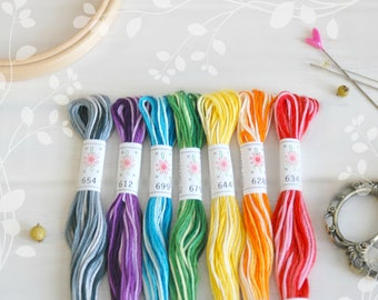 """Embroidery Floss """"Taffy Pull Pallete"""" - 7 Skeins Pack - Embroidery Thread by Sublime - Sublime Stitching - Embroidery Floss - Cotton Thread"""