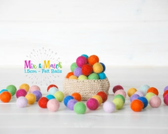 1.5CM - Tiny Wool Felt Balls - Colorful Felt Balls - 1.5CM Felt Balls - (15mm) - 100% Wool Felt Pom Poms- Mix and Match - 25, 50, 75 or 100