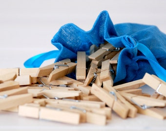 "1-3/4"" Wooden Clothespins - 25 Hand-Stained Clothespins - Unfinished Clothespin - Clothespins in a Muslin Bag"