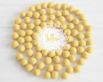 2CM Felt Balls - 100% Wool Felt Balls - 25 Wool Felt Balls (18 - 20 mm) - Color Yellow-6020 - 2CM Wool Felt Pom Pom - 2CM Yellow Felt Balls