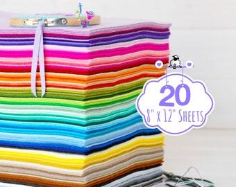 "100% Wool Felt Sheets - 20 Sheets of 8"" X 12"" - Merino Wool Felt - Pure Wool Felt - 20 Wool Felt Sheets - You Choose your Colors"