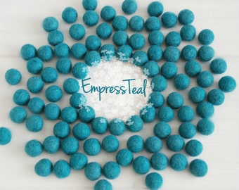 Wool Felt Balls - Size, Approx. 2CM - (18 - 20mm) - 25 Felt Balls Pack - Color Empress Teal-2013- 2CM Teal Felt Balls - Dark Teal Felt Balls