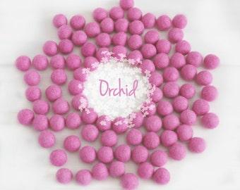 Wool Felt Balls - Size, Approx. 2CM - (18 - 20mm) - 25 Felt Balls Pack - Color Orchid-4050 - Felt Balls - Felt Pom Poms - Orchid Felt Balls