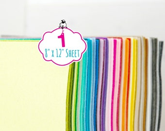 "100% Wool Felt Sheet - 1 Sheet of 8"" X 12"" - Merino Wool Felt Sheet - 1 Wool Felt Sheet - Pure Wool Felt - Choose Your Color - FINAL SALE"
