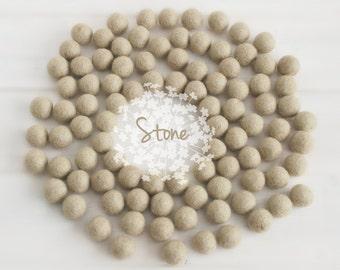 Wool Felt Balls - Size, Approx. 2CM - (18 - 20mm) - 25 Felt Balls Pack - Color Stone-7020 - Stone color fetl balls - 2CM Felt Balls - Sand