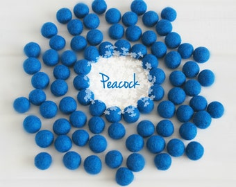 Wool Felt Balls - Size, Approx. 2CM - (18 - 20mm) - 25 Felt Balls Pack - Color Peacock-2050 - Felt Balls - Pom Poms - Peacock Felt Balls