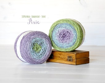 2 Hand Dyed Yarn Balls - 100% Wool - 2 Balls - Color: Pixie Ombre - 1Ply Sport Yarn - Colorful Soft Yarns by Freia - 2 Balls - Pastel Yarn