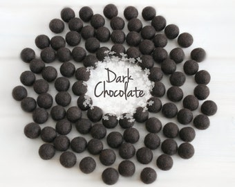 Wool Felt Balls - Size, Approx. 2CM - (18 - 20mm) - 25 Felt Balls Pack - Color Dark Chocolate-7045 - 2CM Dark Chocolate Wool Felt Balls