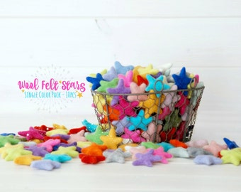 Felt Stars - 10 Wool Felt Stars - (3-4CM/30-40MM) - 10 Felted Stars - Felted Stars - Choose a Color - Wet Felted Stars - Single Color Bundle