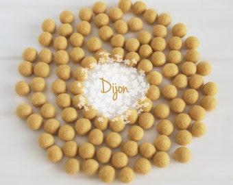 Wool Felt Balls - Size, Approx. 2CM - (18 - 20mm) - 25 Felt Balls Pack - Color Dijon-6050 - 2CM Mustard Felt Balls - Dark Yellow Felt Balls