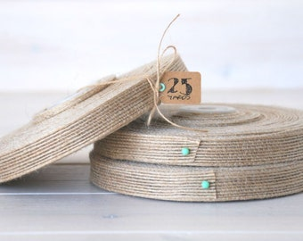 "Natural Burlap Ribbon - 25 Yards of Natural Jute Ribbon -  5/8"" Wide - Jute Ribbon - Natural Burlap Ribbon - Wedding Ribbons - DIY Weddings"