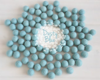 Wool Felt Balls - Size, Approx. 2CM - (18 - 20mm) - 25 Felt Balls Pack - Color Dusty Blue-2025 - Soft Blue Pom Poms - Pale Blue Felt Balls