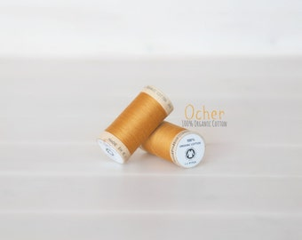 Organic Cotton Thread GOTS - 300 Yards Wooden Spool  - Thread Color Ocher - No. 4826 - Eco Friendly Thread - 100% Organic Cotton Thread