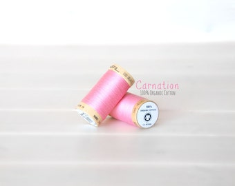 Organic Cotton Thread GOTS - 300 Yards Wooden Spool  - Thread Color Carnation - No. 4809 - Eco Friendly Thread - 100% Organic Cotton Thread