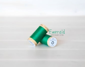 Organic Cotton Thread GOTS- 300 Yards Wooden Spool  - Thread Color Emerald - No. 4821 - Eco Friendly Thread - 100% Organic Cotton Thread