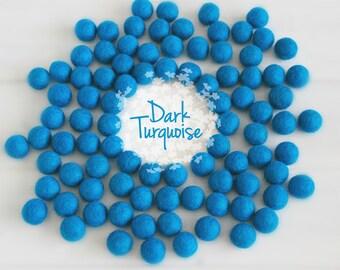Wool Felt Balls - Size, Approx. 2CM - (18 - 20mm) - 25 Felt Balls Pack - Color Dark Turquoise-2042 - Turquoise Pom Pom - Turquise Felt Balls