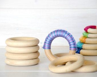 """5 Wood Rings - Large Wooden Rings - 2-11/16"""" Wood Rings (68MM) - Natural Wood - DIY Teethers - Toss Rings - DIY Wood Crafts - Wooden Rings"""