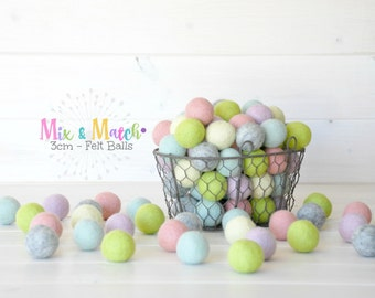 3CM Wool Felt Balls - 3CM Mix and Match - 100% Wool Felt Balls - (3cm/30mm)- 3CM - Pastel Colors Felt Balls - 3CM Colorful Wool Felt Balls