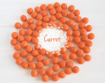 Wool Felt Balls - Size, Approx. 2CM - (18 - 20mm) - 25 Felt Balls Pack - Color Carrot-5025 - Wool Felt Pom Poms - 2CM Orange Wool Felt Balls