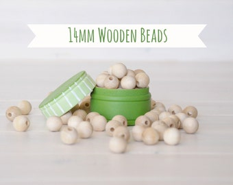 "14MM Wooden Beads - 50 Round Wooden Beads - 14MM Wooden Balls (9/16"") - Unfinished Wooden Beads - 14mm Wood Balls in Muslin Bag - DIY Crafts"