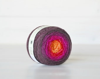 Hand Dyed Gradient Yarn - 100% Wool - Color: Flare Ombre - 1Ply Sport Yarn - Orange Color Yarn by Freia - Fuchsia Wool Yarn - Gradient Yarn