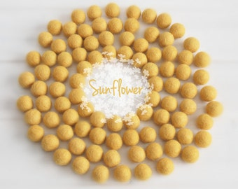 Wool Felt Balls - Size, Approx. 2CM - (18 - 20mm) - 25 Felt Balls Pack - Color Sunflower-6030 - Yellow Felt Balls - 2CM Sunflower Felt Balls