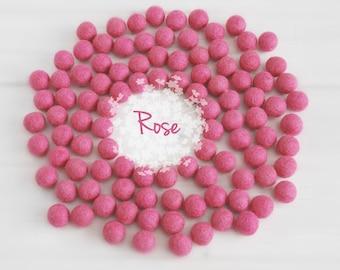 Wool Felt Balls - Size, Approx. 2CM - (18 - 20mm) - 25 Felt Balls Pack - Color Rose Pink-4030 - 2CMFelt Balls - Poms - Rose Pink Felt Balls